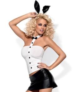 Lekkert svart og hvitt bunny kostyme fra Obsessive. Størrelse S/M (str. 34-38). Settet inneholder topp, skjørt, truse, sløyfe og bunny ører.
