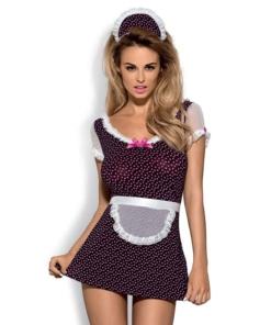 Sexy kostyme. Søt kjole med hjertemotiv og bloner, med en frekk bakside som viser rompa. Størrelse S/M. Settet inneholder kjole, hatt og matchende truse.