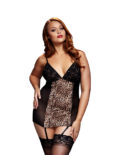 LEOPARD BASQUE & GARTER STAYS NO PANTY