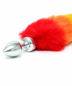 Liten unisex buttplug med regnbuefarget hale fra Rimba